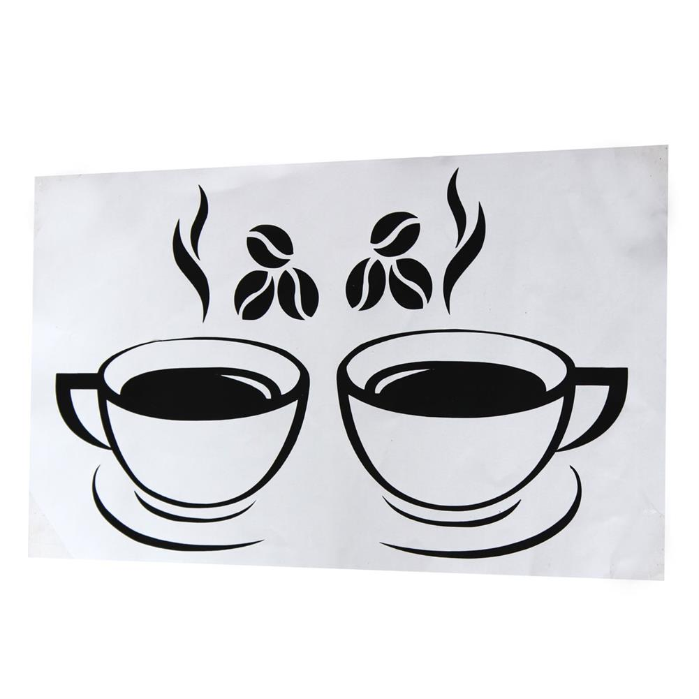 paper-notebooks Double Coffee Cups Wall Stickers Waterproof Vinyl Adhesive Art Wall Decals Coffee Shop Kitchen Home office Decorations Accessories HOB1725412 1 1