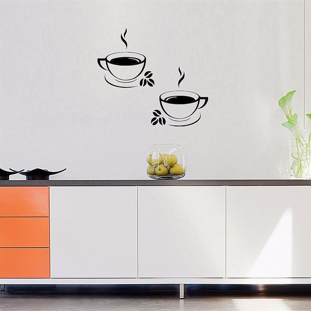 paper-notebooks Double Coffee Cups Wall Stickers Waterproof Vinyl Adhesive Art Wall Decals Coffee Shop Kitchen Home office Decorations Accessories HOB1725412 3 1