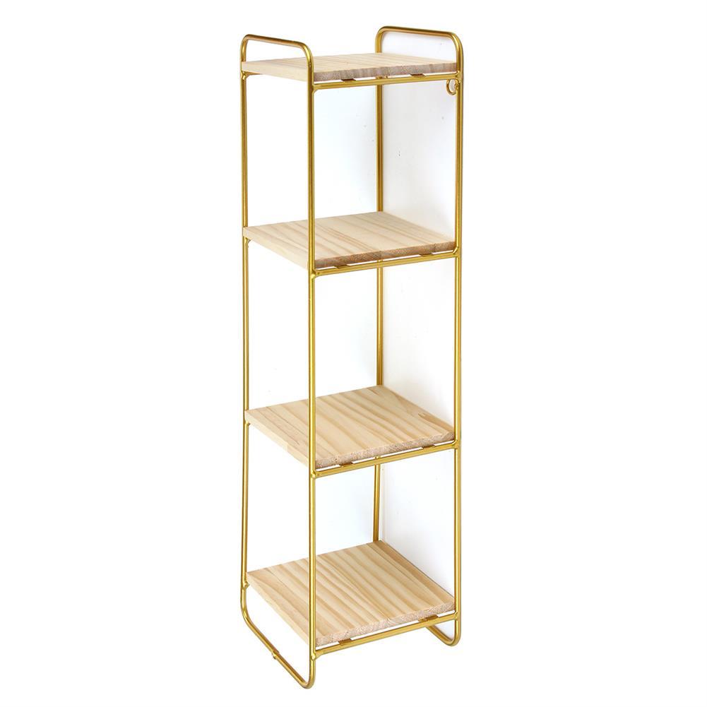 desktop-off-surface-shelves 4 Tiers Wall Storage Shelves Metal Wood Modern Bookshelf Storage Rack Desktop Orangizer HOB1725811 2 1