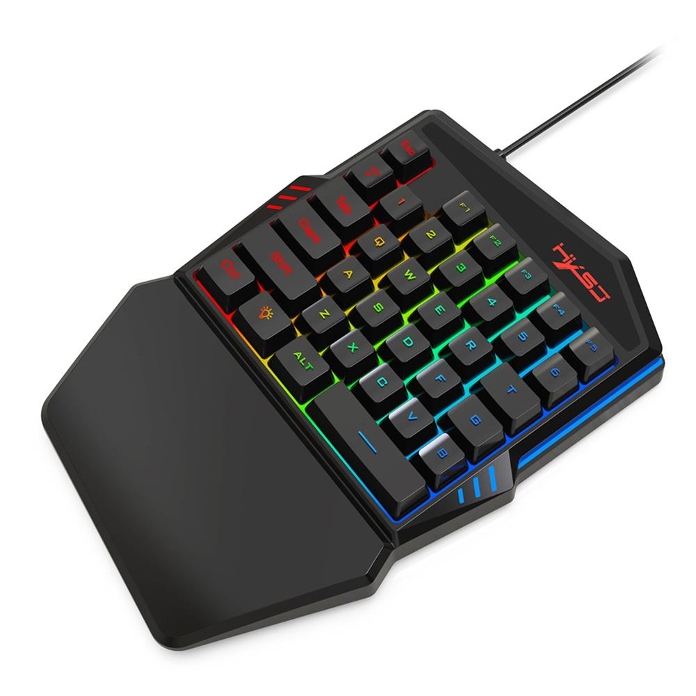 mechanical-gaming-keyboard HXSJ V100-2 35 keys one-handed Membrane Keyboard Mini USB Wired RGB Backlight Single Hand Gaming Keypad for PC Gamer HOB1727789 3 1