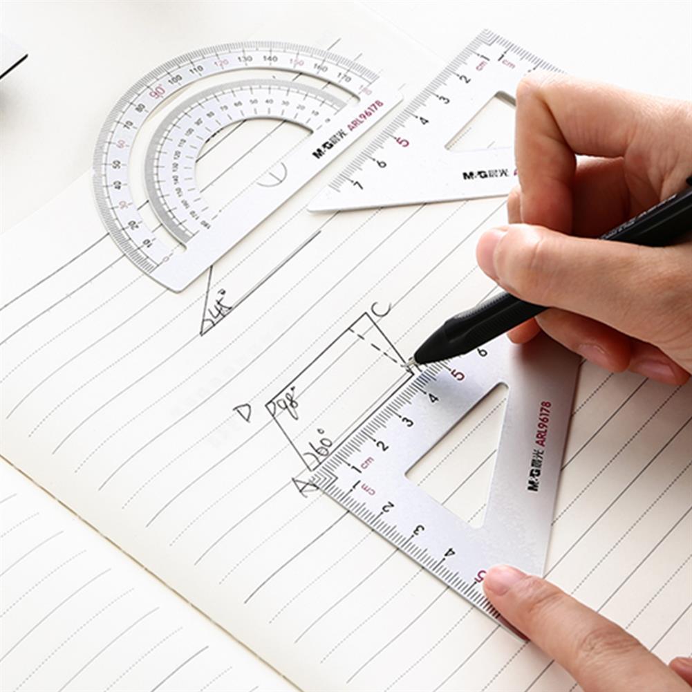 ruler M&G 4pcs/set Aluminium Ruler Set Metal Geometry Maths Drawing Rulers Protractor Mathematical Stationery School Study Supplies HOB1729173 2 1