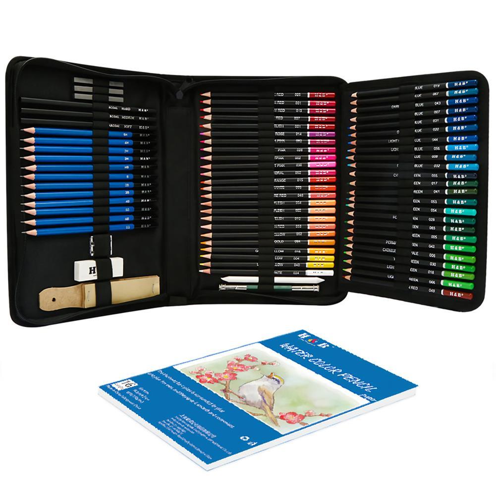 art-kit H&B 93pcs Sketch Color Lead Set Wood Painting Color Pencil Art Kit Professional Stationery School Students Painting Art Supplies HOB1729331 1