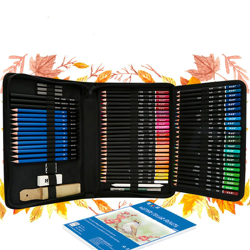 art-kit H&B 93pcs Sketch Color Lead Set Wood Painting Color Pencil Art Kit Professional Stationery School Students Painting Art Supplies HOB1729331 1 1