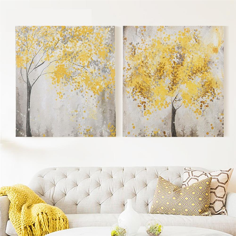 art-kit 2pcs Frameless Yellow Flower Tres Canvas Pictures 30x30cm Frameless House Living Room Bedthroom Wall Art Decoration Supplies HOB1731000 1