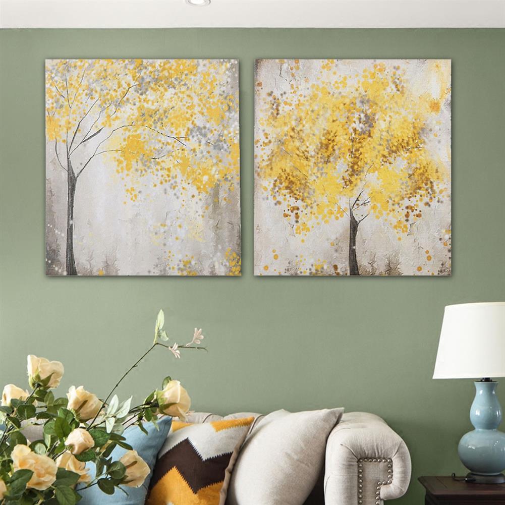 art-kit 2pcs Frameless Yellow Flower Tres Canvas Pictures 30x30cm Frameless House Living Room Bedthroom Wall Art Decoration Supplies HOB1731000 1 1