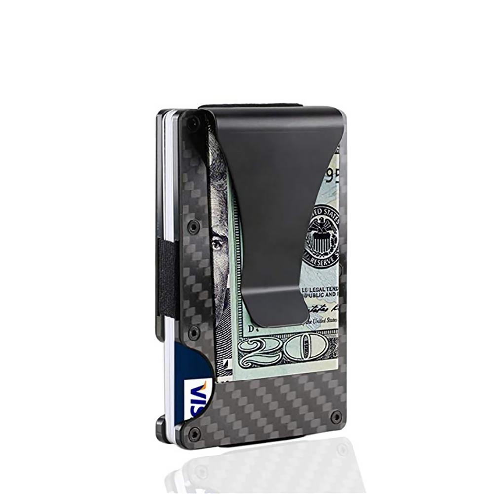 business-card-book Carbon Fiber Card Holder Minimalist Wallet Credit Card Holder RFID Blocking Slim Anti Scan Metal Cash Clip Black Business Gifts HOB1733156 1