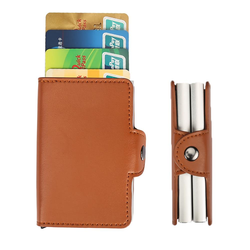 business-card-book RFID Blocking Card Holder Protection ID Credit Wallet Antitheft Leather Aluminum Business Bank Card Case Gifts Supplies HOB1733256 1 1