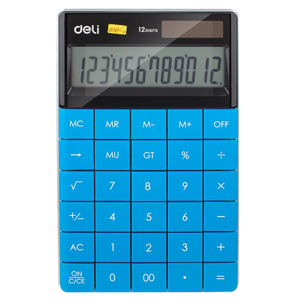 calculator Deli E1589 12 Digits Desktop Calculator Universal Programer Dual Power Solar Energy Battery Fashion Style Business office Calculators School Supplies HOB1734763 1
