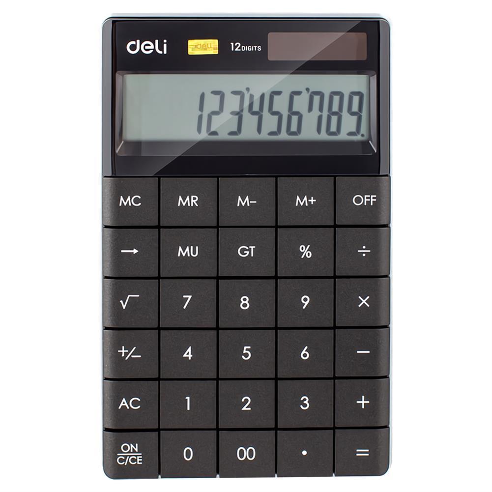 calculator Deli E1589 12 Digits Desktop Calculator Universal Programer Dual Power Solar Energy Battery Fashion Style Business office Calculators School Supplies HOB1734763 1 1
