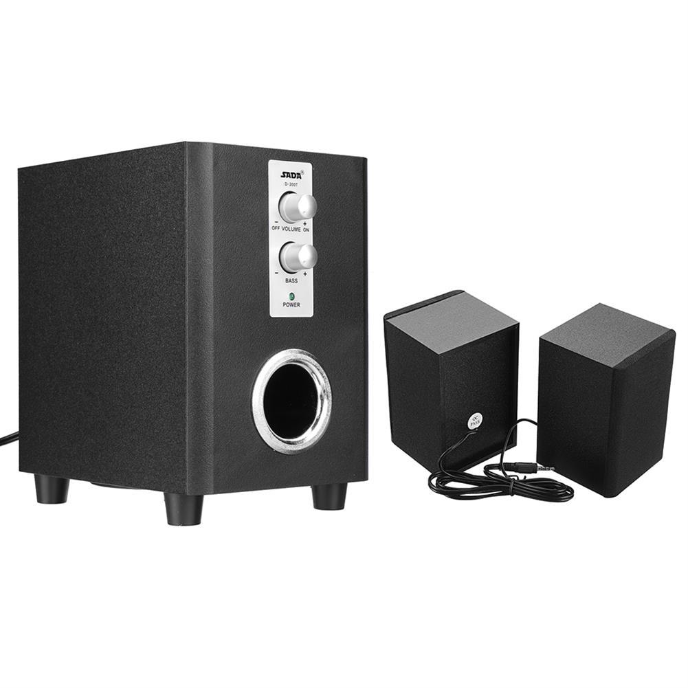 computer-speakers SADA D-200T Home Laptop Audio Multimedia Mini Speaker USB AUX Audio 2.1 Subwoofer bluetooth5.0 Wired 3.5mm Wood Black HOB1734800 1