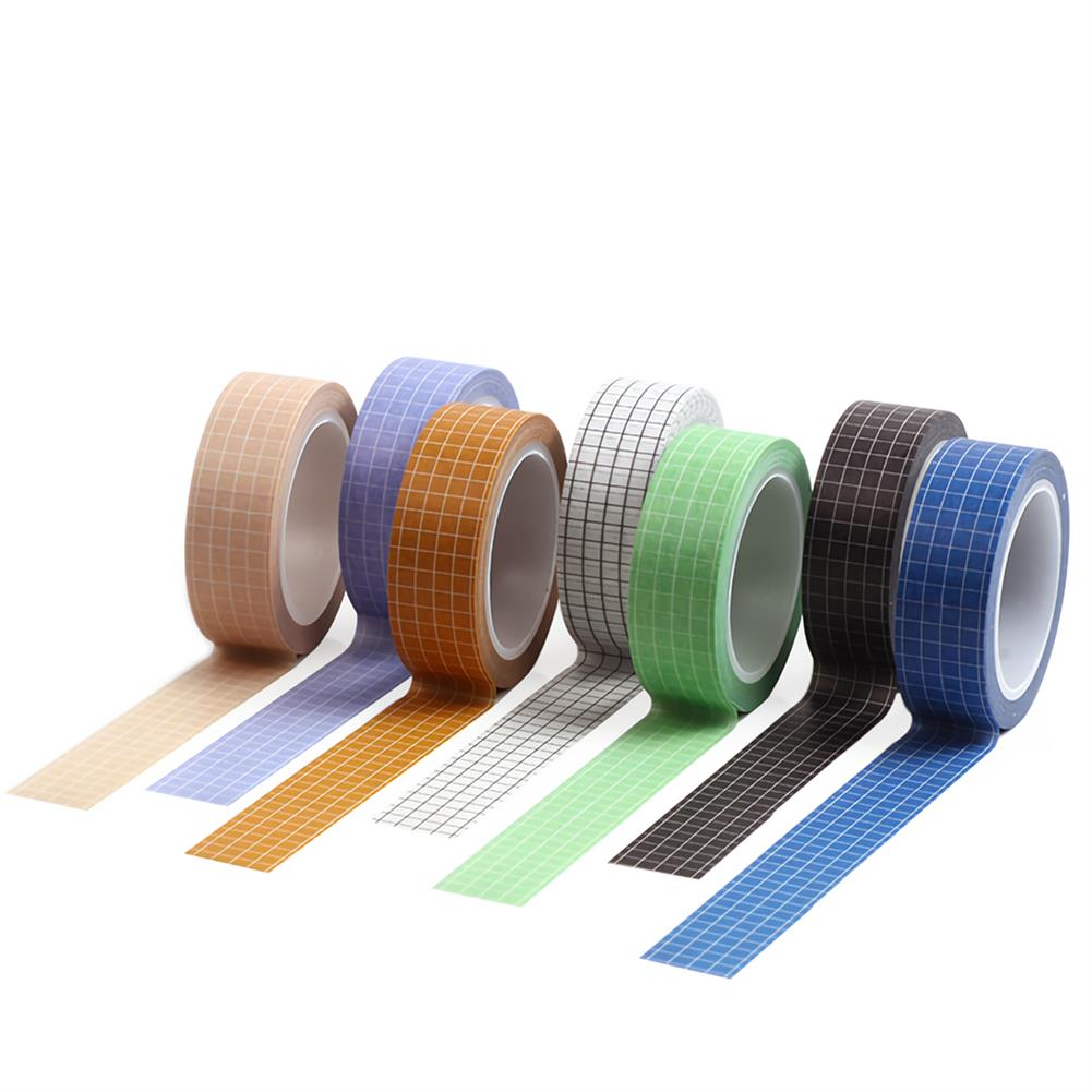 stationery-tape 10pcs Grid Washi Tape Solid Color Paper DIY Planner Masking Tape Adhesive Tapes Stickers Decorative Stationery Tapes Supplies HOB1736370 1
