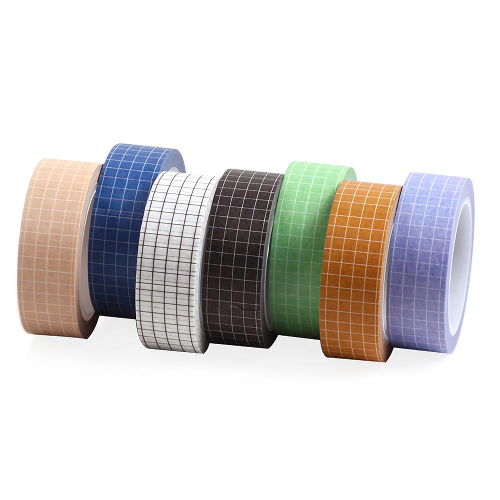 stationery-tape 10pcs Grid Washi Tape Solid Color Paper DIY Planner Masking Tape Adhesive Tapes Stickers Decorative Stationery Tapes Supplies HOB1736370 1 1
