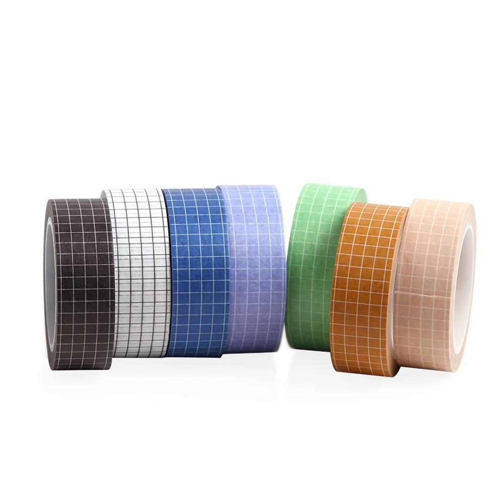stationery-tape 10pcs Grid Washi Tape Solid Color Paper DIY Planner Masking Tape Adhesive Tapes Stickers Decorative Stationery Tapes Supplies HOB1736370 2 1