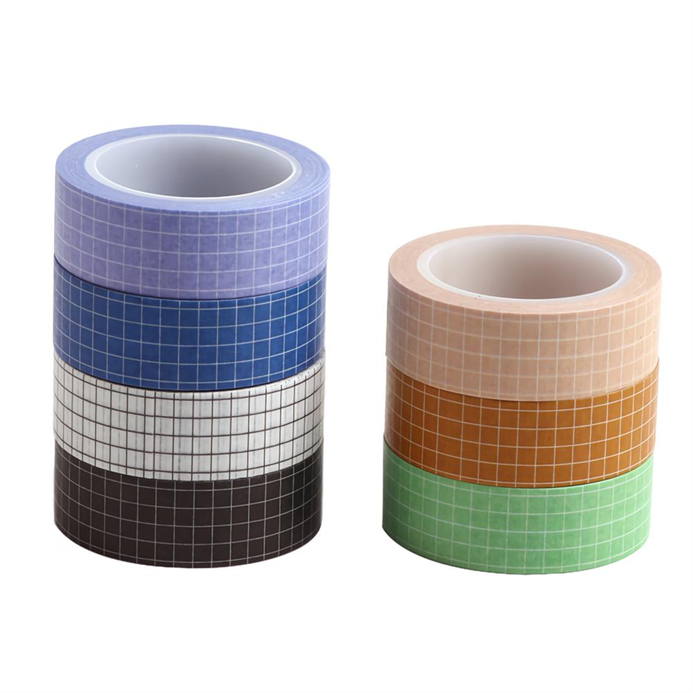 stationery-tape 10pcs Grid Washi Tape Solid Color Paper DIY Planner Masking Tape Adhesive Tapes Stickers Decorative Stationery Tapes Supplies HOB1736370 3 1