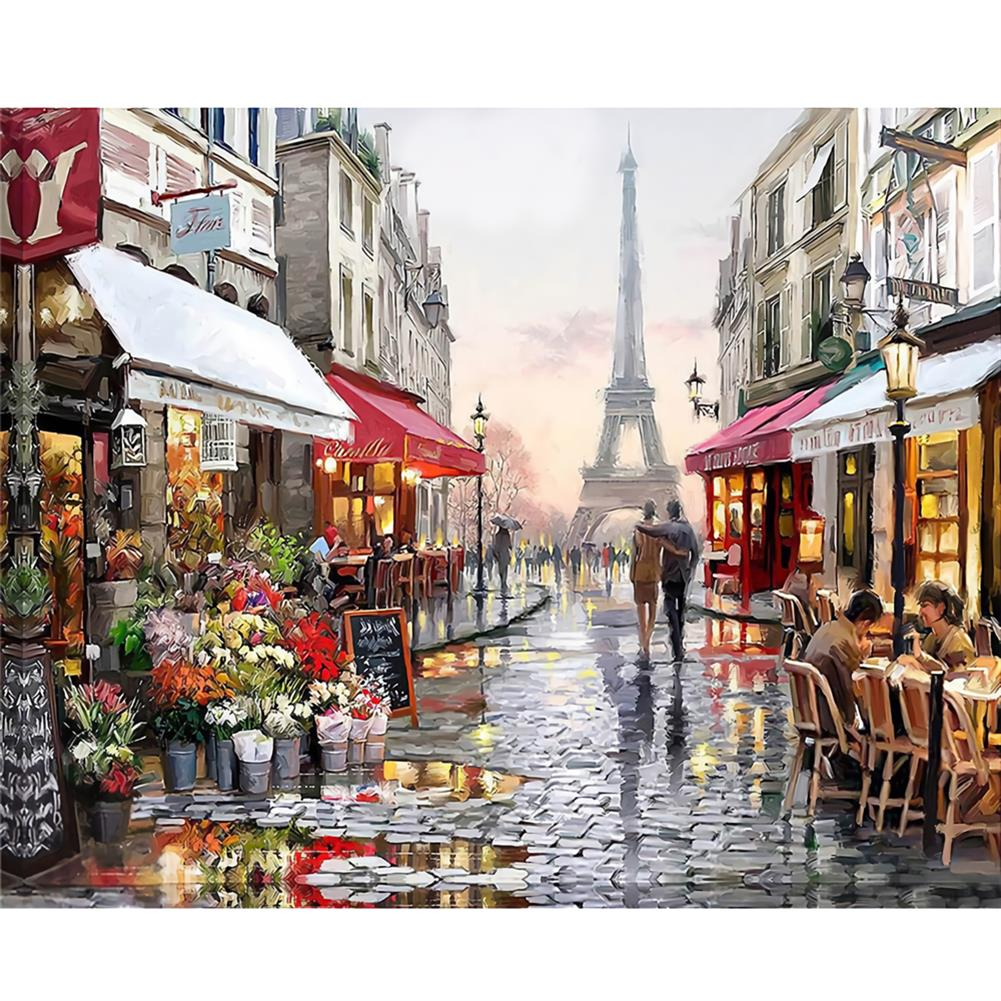 art-kit DIY Oil Paint By Numbers Kits Paris Street Landscape Wall Art Canvas Pictures Numbers Home Decor Art Supplies HOB1737013 1