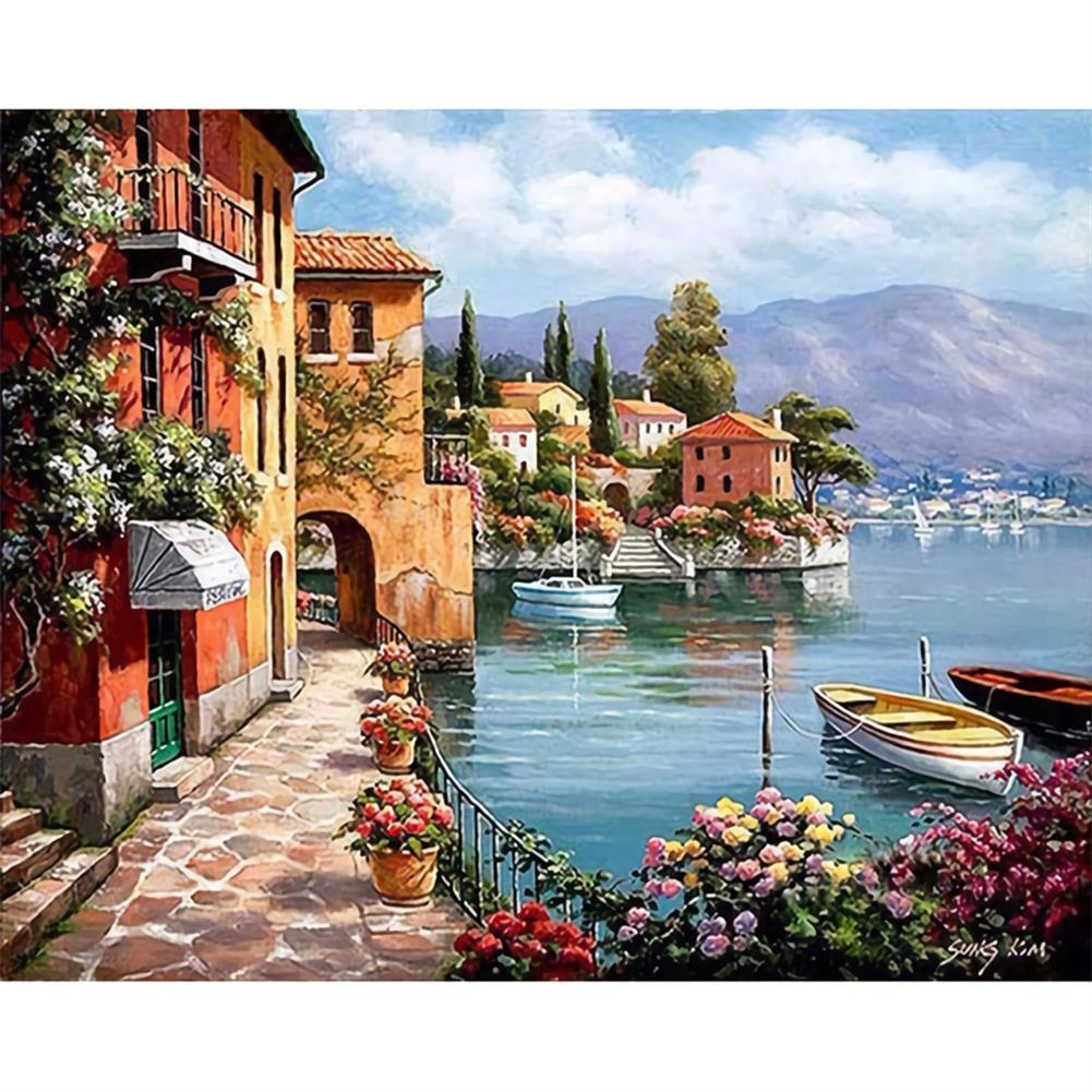 art-kit Frameless DIY Paint By Numbers Harbor Oil Painting 40*50cm Landscape Canvas Painting Home Decor for Living Room Wall Artwork HOB1737023 1