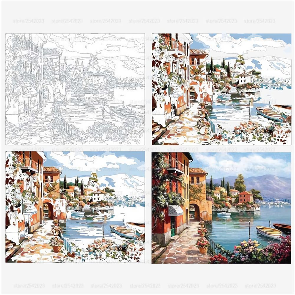 art-kit Frameless DIY Paint By Numbers Harbor Oil Painting 40*50cm Landscape Canvas Painting Home Decor for Living Room Wall Artwork HOB1737023 2 1