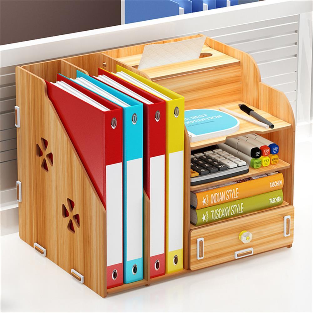 desktop-off-surface-shelves Multi-function Desktop Organizer office Storage Rack Adjustable Wood Display Shelf Tissue Holder Natural Stand Shelf Bedroom Supplies HOB1737359 1