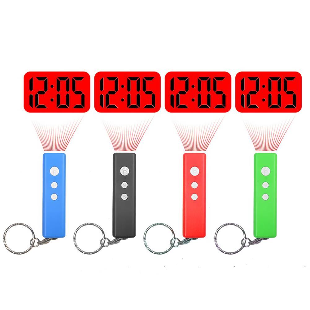 desktop-off-surface-shelves LED Projection Clock Mini Key Chain Alarm Clock Portable Digital Time Projection Clock Watch Night Light Flashlight HOB1737667 1