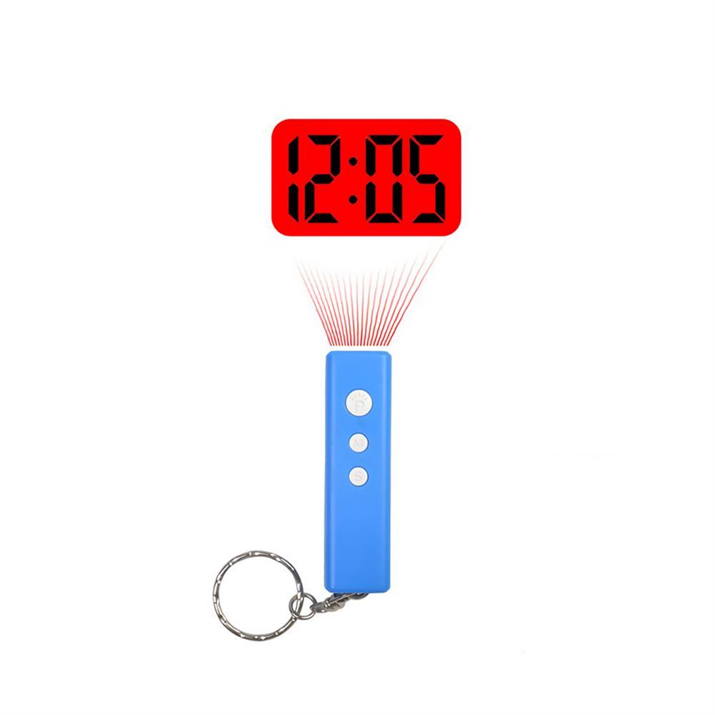 desktop-off-surface-shelves LED Projection Clock Mini Key Chain Alarm Clock Portable Digital Time Projection Clock Watch Night Light Flashlight HOB1737667 2 1