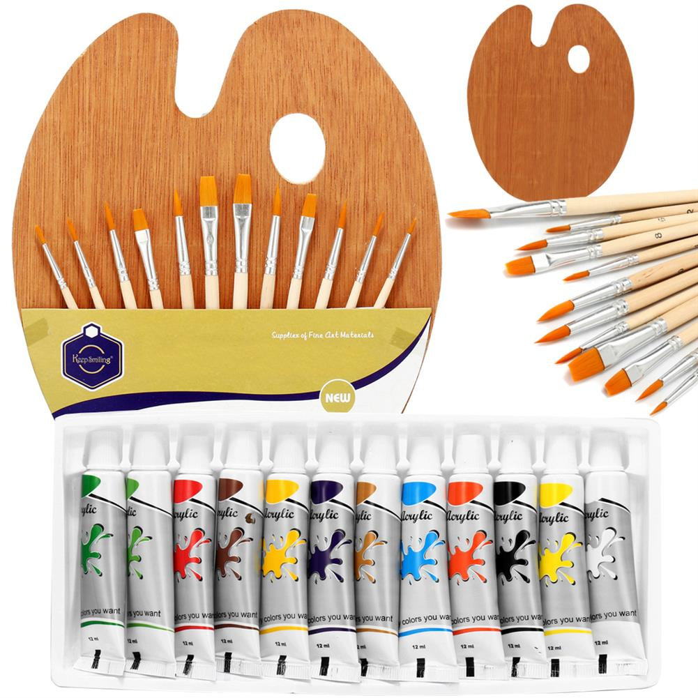 watercolor-paints 12 Colors Painting Paint Set Painting Brush Set with Wood Palette Stationery Student Drawing Pigment for Art Supplies HOB1737896 1