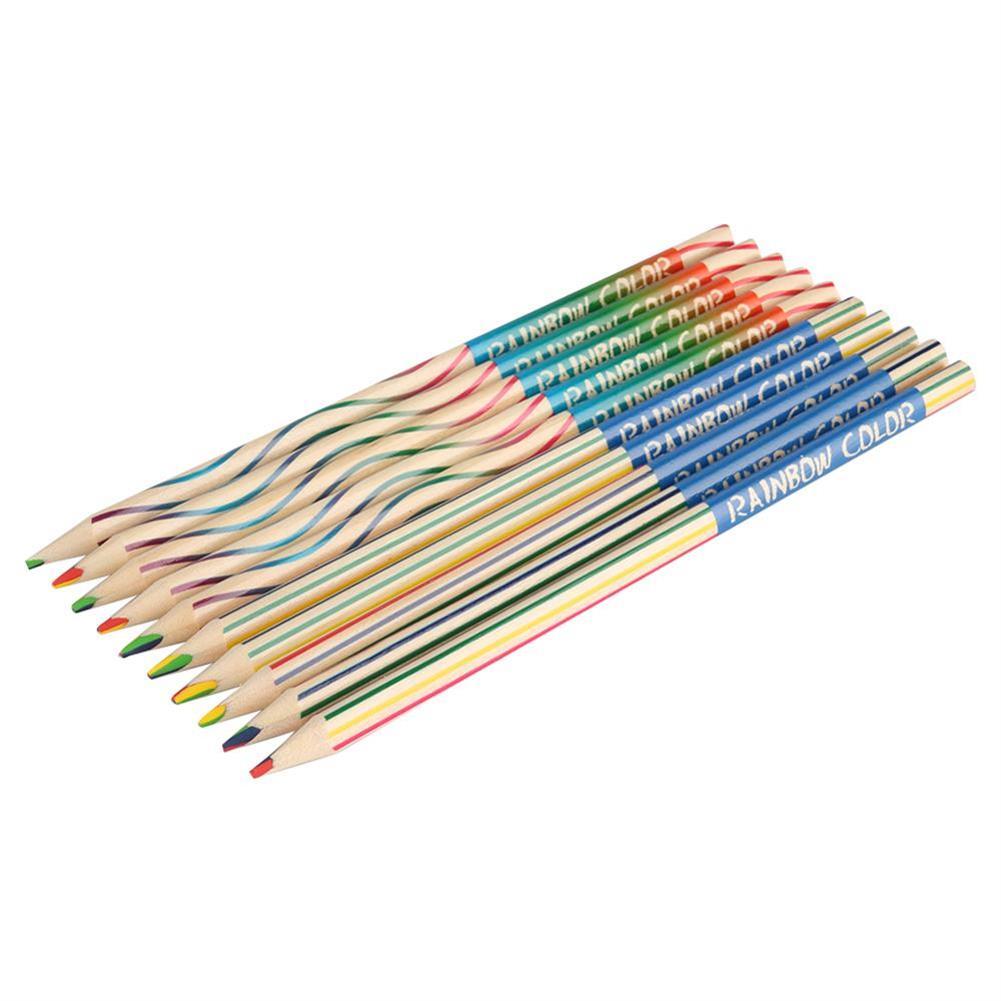 pencil 10pcs/set Rainbow Pencil Set Color Painting Pencil for Kid Graffiti Drawing Material Escolar office School Supplies HOB1738349 1 1