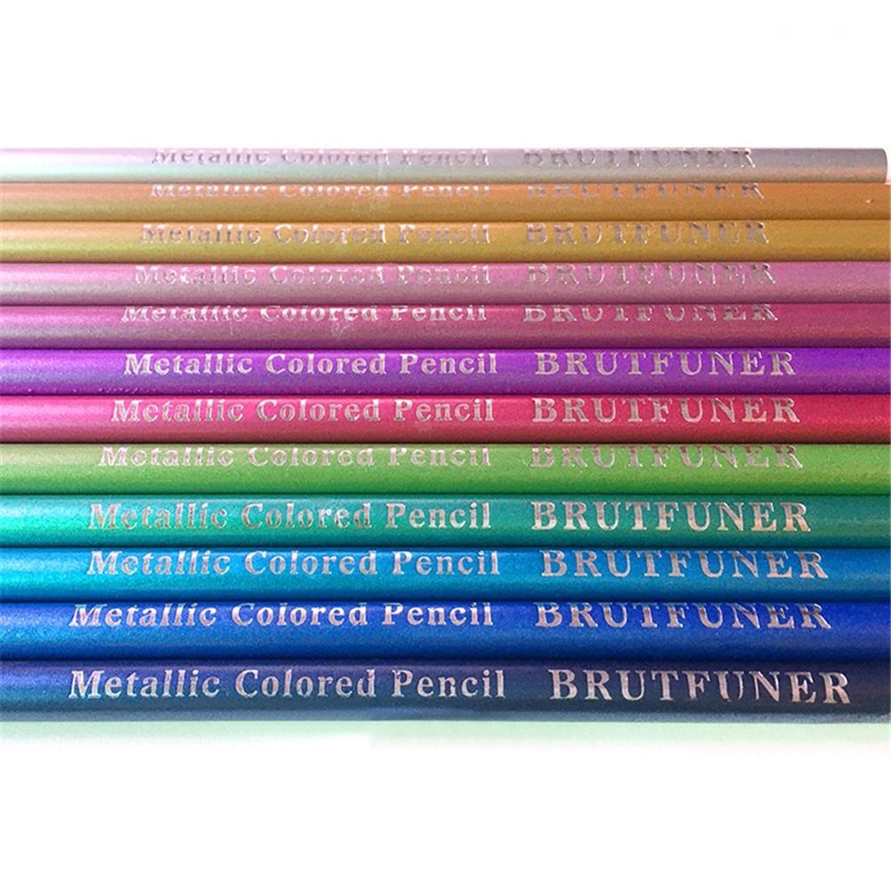 pencil Brutfuner 12pcs Metallic Colored Pencils Set Sketching Graffiti Color Pencil Stationery School Students Painting Gifts HOB1738376 2 1