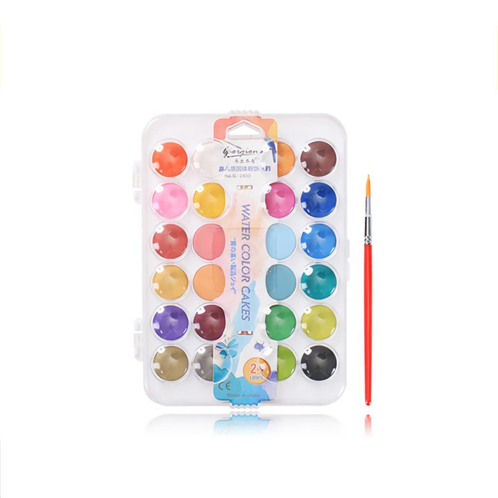 watercolor-paints Giorgione Solid Watercolor Pigment Paint Set with Wooden Pole Brush Pen Portable Watercolor Gouache Pigments Art Stationery HOB1738415 3 1