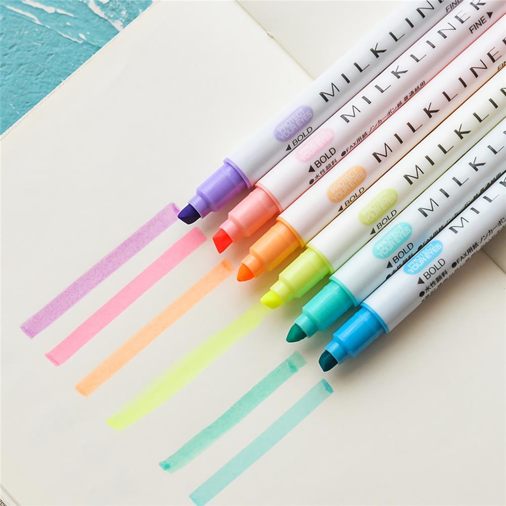 highlighter 12pcs Highlighter Pen Set Double Head Fluorescent Marker Watercolor Pen Business office Writing Drawing Supplies HOB1738598 3 1
