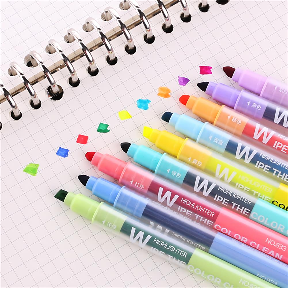 highlighter 10 pcs/set Erasable Highlighter Pen Markers Double-ended Fluorescent Pen Drawing Painting Art Stationary Supplies HOB1738684 2 1