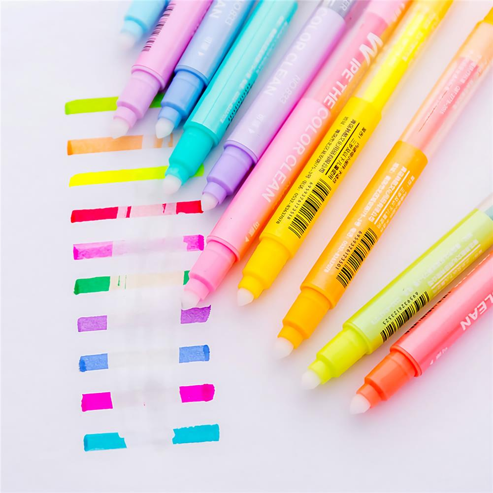 highlighter 10 pcs/set Erasable Highlighter Pen Markers Double-ended Fluorescent Pen Drawing Painting Art Stationary Supplies HOB1738684 3 1