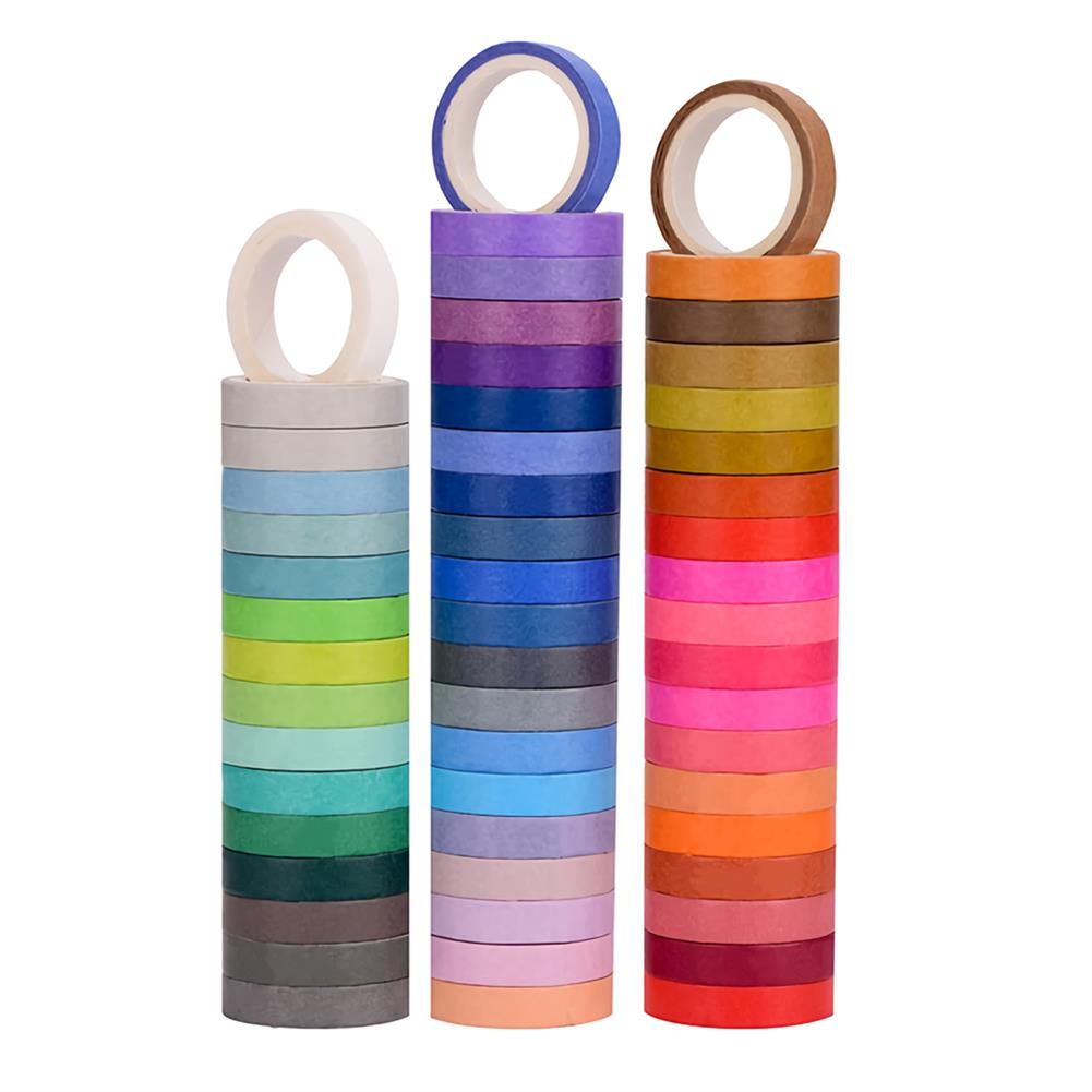 stationery-tape 60 Pcs/Set Solid Color Washi Tape 8mm Rainbow Masking Tape Decorative Adhesive Sticker Scrapbook Diary Stationery Supplies HOB1738966 1