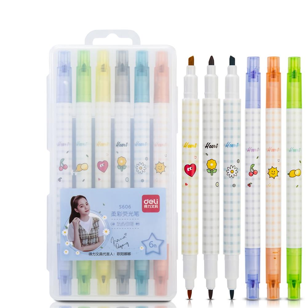 highlighter [ From XM ] Deli S606 6pcs/box Double Head Soft Color Fluorescent Pen Highlighter Pen Plastic Marker Cute Stationery School Supplies HOB1739777 1