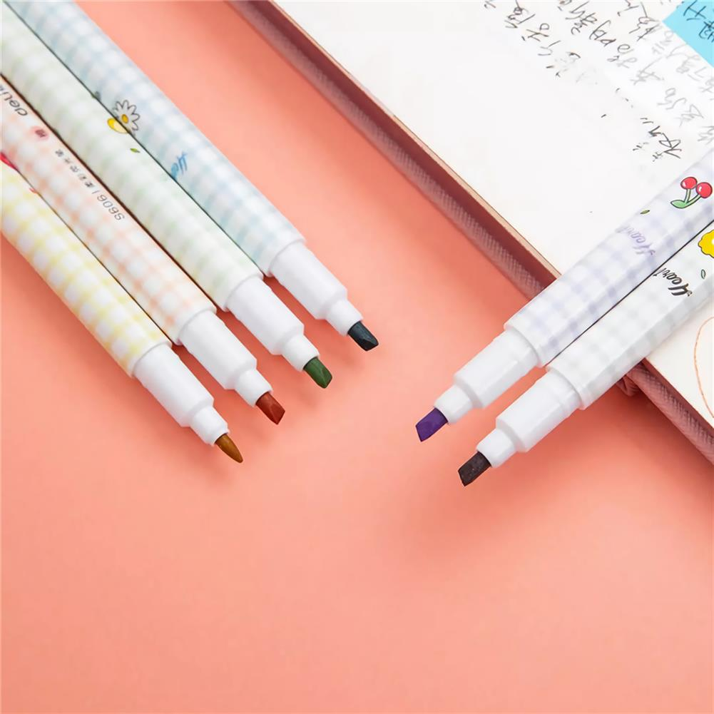 highlighter [ From XM ] Deli S606 6pcs/box Double Head Soft Color Fluorescent Pen Highlighter Pen Plastic Marker Cute Stationery School Supplies HOB1739777 2 1