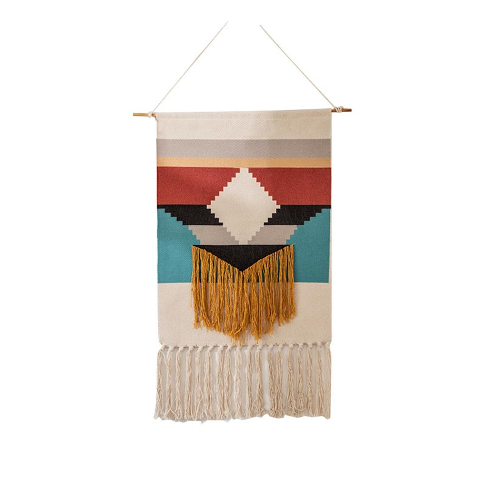 other-learning-office-supplies Macrame Wall Hanging Tapestry Cotton Linen Tassel Tapestry Geometric Print Wall Hanging Home Decor Tapestries HOB1740004 1