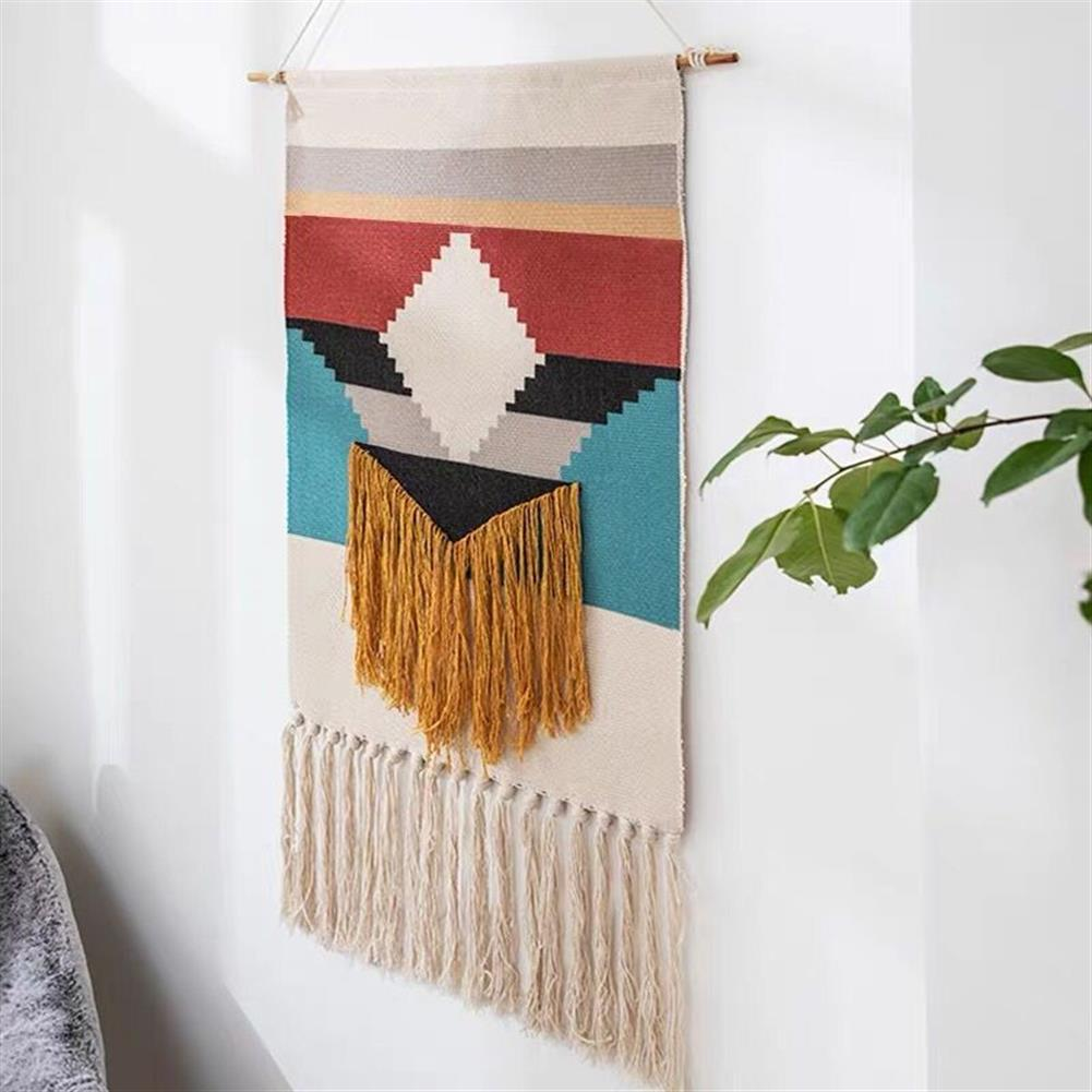 other-learning-office-supplies Macrame Wall Hanging Tapestry Cotton Linen Tassel Tapestry Geometric Print Wall Hanging Home Decor Tapestries HOB1740004 1 1