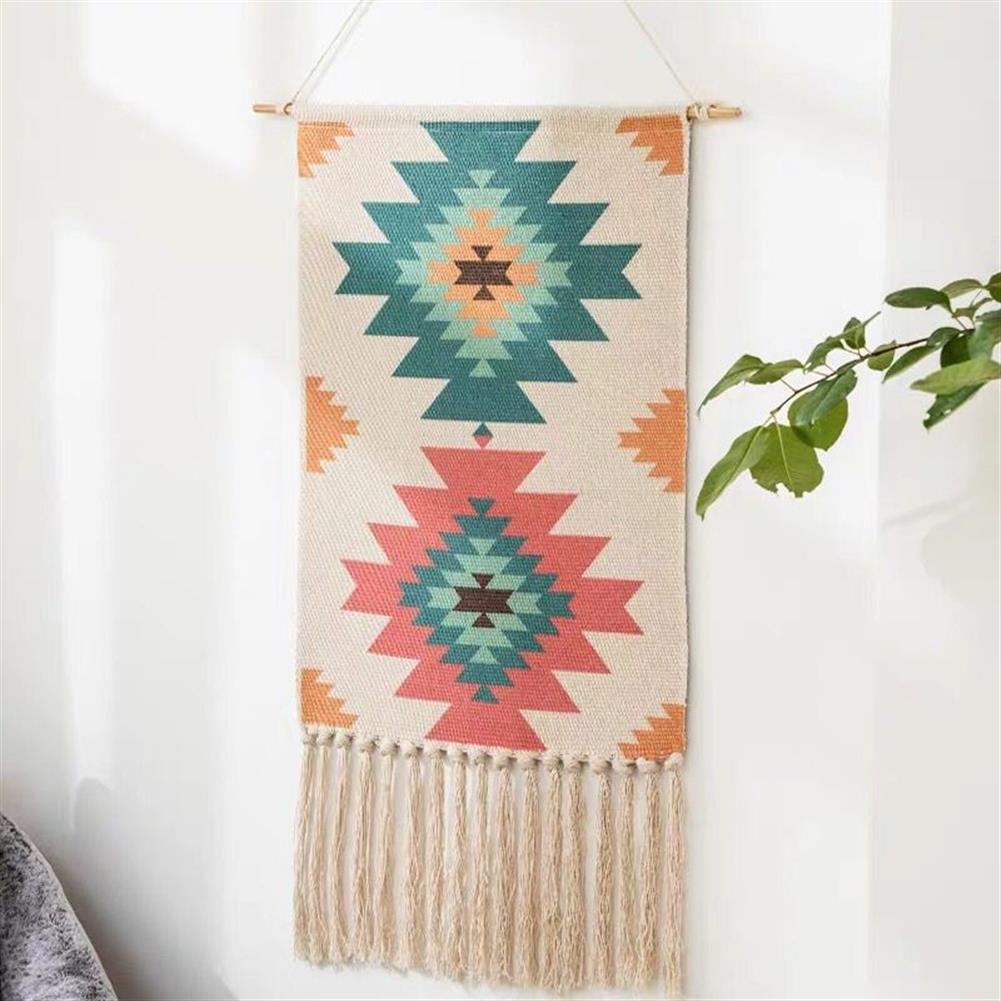other-learning-office-supplies Macrame Wall Hanging Tapestry Cotton Linen Tassel Tapestry Geometric Print Wall Hanging Home Decor Tapestries HOB1740004 2 1