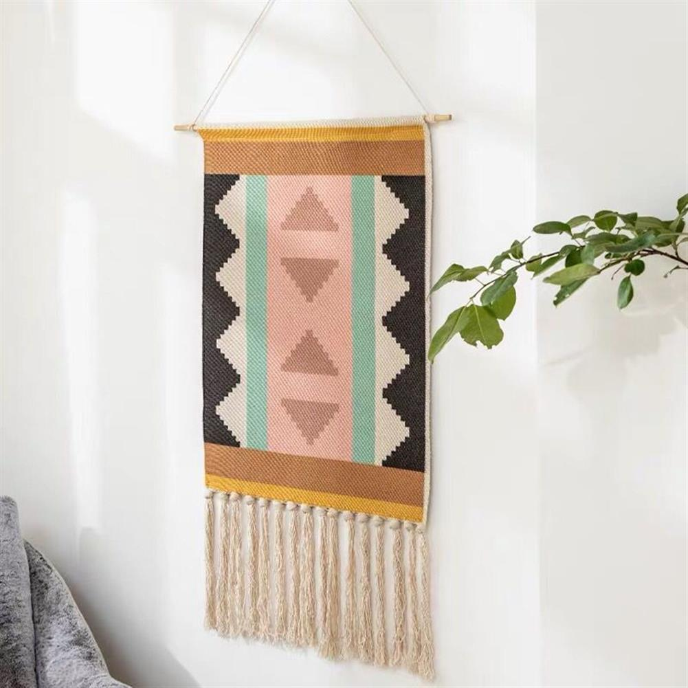 other-learning-office-supplies Macrame Wall Hanging Tapestry Cotton Linen Tassel Tapestry Geometric Print Wall Hanging Home Decor Tapestries HOB1740004 3 1