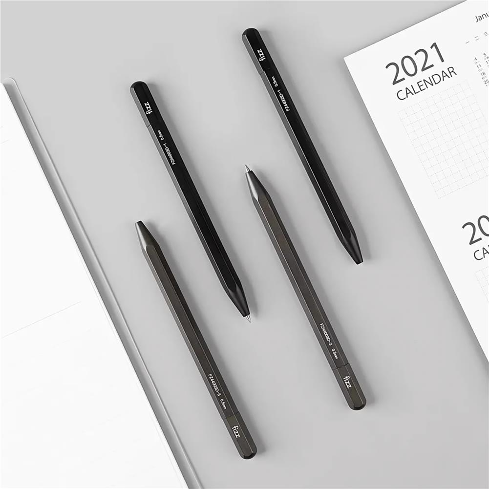 gel-pen Fizz 0.5mm Multi Edge Metal Gel Pen Black Writing Gel Pen Stationery School Students Exam Business office Writing Supplies HOB1740113 2 1