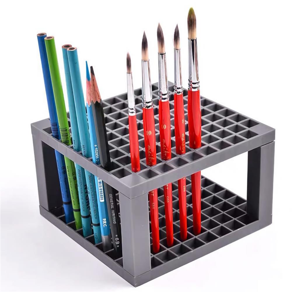 pen-holders, filing 96 Grid Rectangle Pen Holder Paint Brush Holder Watercolor Oil Acrylic Painting Tool Storage Stationary Art Easel Supplies HOB1741271 1
