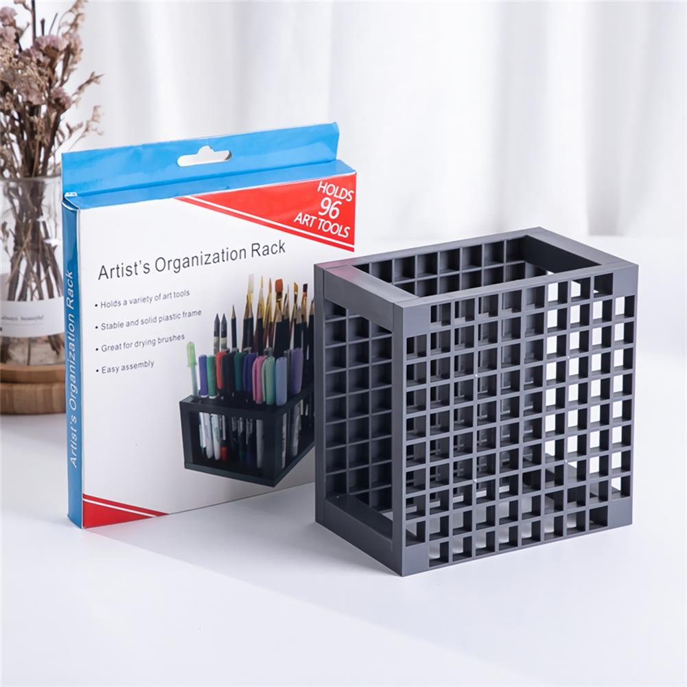 pen-holders, filing 96 Grid Rectangle Pen Holder Paint Brush Holder Watercolor Oil Acrylic Painting Tool Storage Stationary Art Easel Supplies HOB1741271 3 1