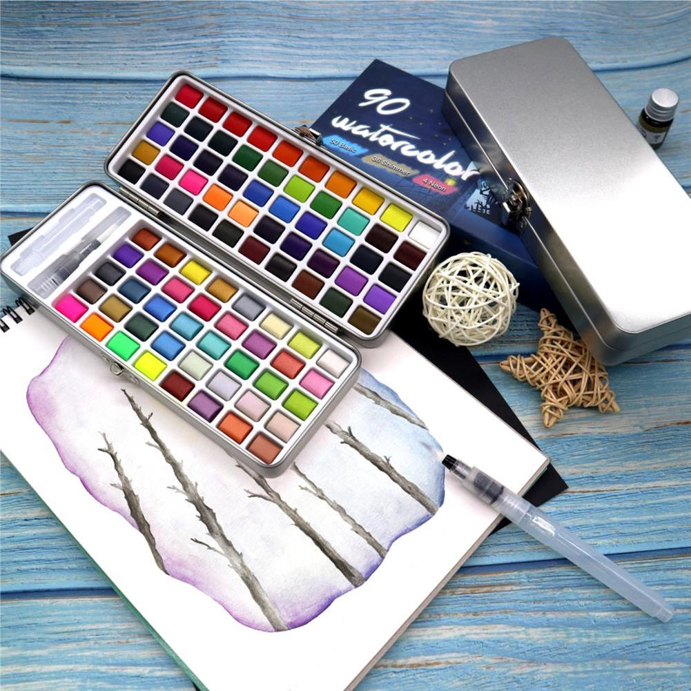 watercolor-paints SeamiArt 72/90 Colors Solid Watercolor Set Portable Watercolor Paint for Drawing Art Paint Stationery Painting Supplies HOB1741491 3 1