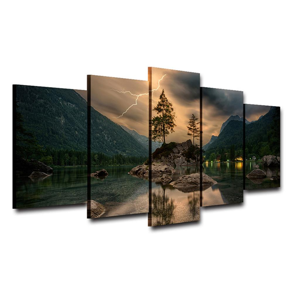 other-learning-office-supplies 5 Pieces Mural Wall Lake Reflection Hanging Wall Decoration no Frame Living Room and Bedroom Decor Picture HOB1742002 1