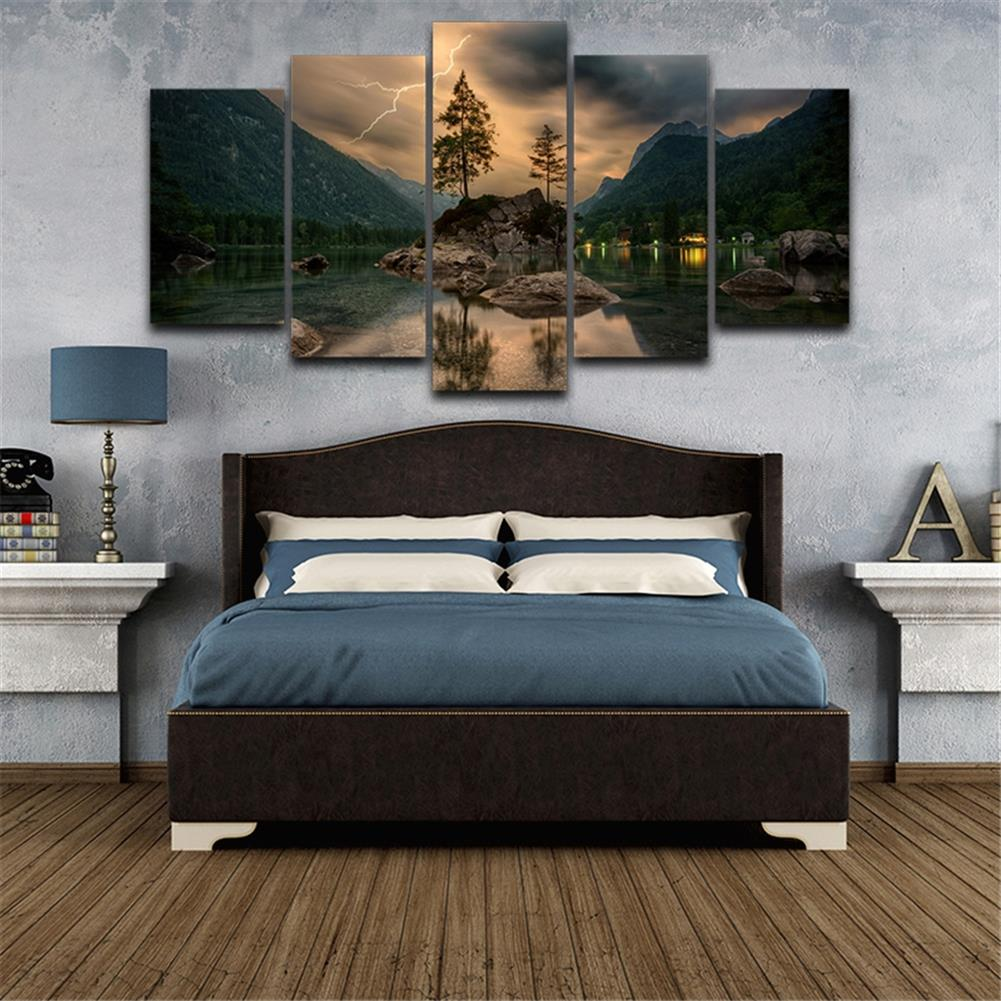 other-learning-office-supplies 5 Pieces Mural Wall Lake Reflection Hanging Wall Decoration no Frame Living Room and Bedroom Decor Picture HOB1742002 2 1