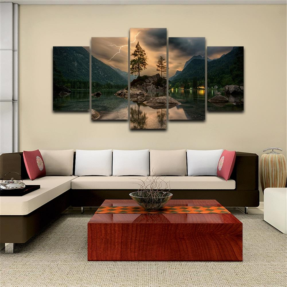 other-learning-office-supplies 5 Pieces Mural Wall Lake Reflection Hanging Wall Decoration no Frame Living Room and Bedroom Decor Picture HOB1742002 3 1