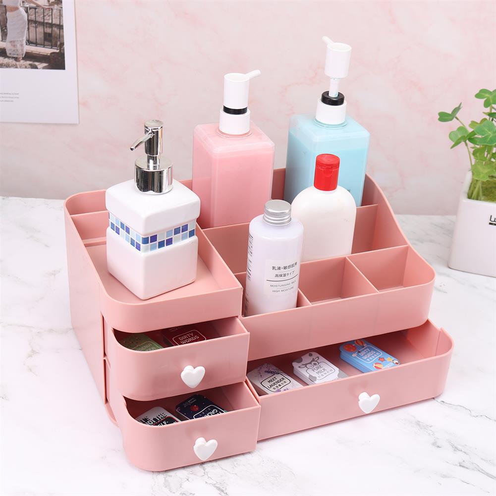 desktop-off-surface-shelves 34x22x15cm Plastic Cosmetic Organizer Makeup Case Holder Drawers Jewelry Storage Home Desk Storage Supplies HOB1743332 3 1