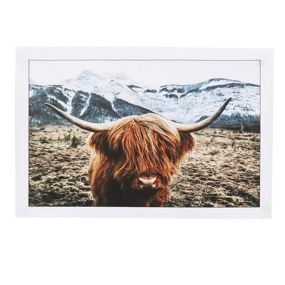 art-kit 1 Piece Canvas Print Painting Highland Cow Poster Wall Decorative Printing Art Pictures Frameless Wall Hanging Decorations for Home office HOB1743443 1