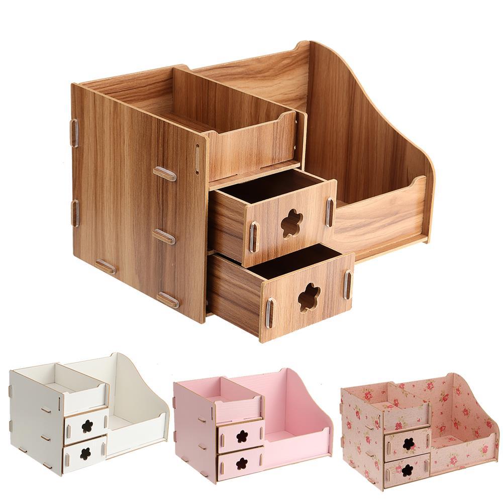 desktop-off-surface-shelves Wood Makeup Organizer Box Cosmetic Storage Box with Drawer Lipstick Holder Desktop Sundry Storage Box Home Supplies HOB1743664 1 1