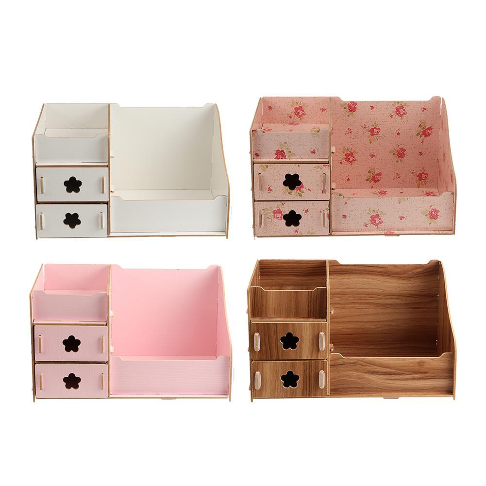 desktop-off-surface-shelves Wood Makeup Organizer Box Cosmetic Storage Box with Drawer Lipstick Holder Desktop Sundry Storage Box Home Supplies HOB1743664 2 1