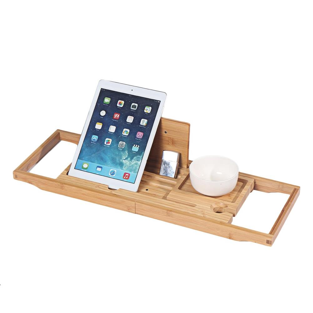 desktop-off-surface-shelves Bamboo Tray Non Slip Bath Tray Bathtub Book Tablet Holder Reading Rack Multi Function Desktop Shelf Supplies HOB1746365 1